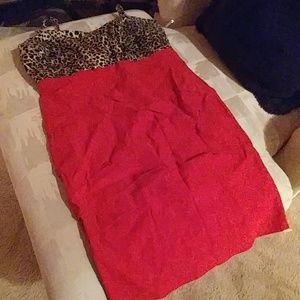 Torrid Red & Leopard Bodycon Dress
